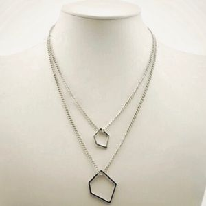 Asymmetrical Silver Plated Double Layer Necklace